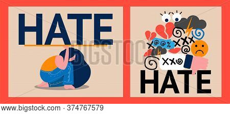 Set Of Two Illustrations Of Hate And Cyberbullying. Online Pressure. Sexual Remarks, Or Pejorative L