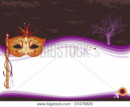 Halloween Masquerade Invitation With Golden Mask