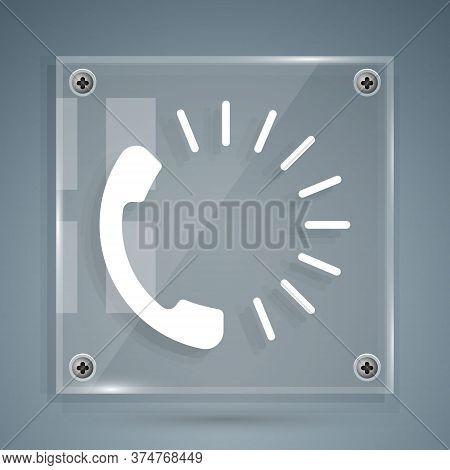 White Food Ordering Icon Isolated On Grey Background. Order By Mobile Phone. Restaurant Food Deliver