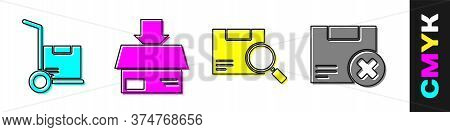 Set Hand Truck And Boxes, Carton Cardboard Box, Search Package And Carton Cardboard Box And Delete I