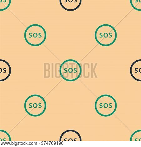 Green And Black Location With Sos Icon Isolated Seamless Pattern On Beige Background. Sos Call Marke