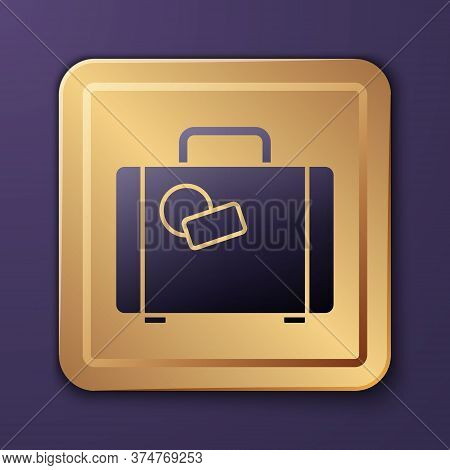 Purple Suitcase For Travel Icon Isolated On Purple Background. Traveling Baggage Sign. Travel Luggag