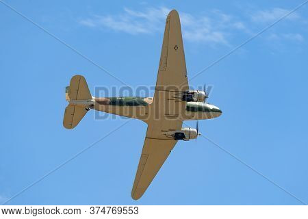 Avalon, Australia - February 27, 2015: Former United States Air Force Douglas C-47b Twin Engine Airc