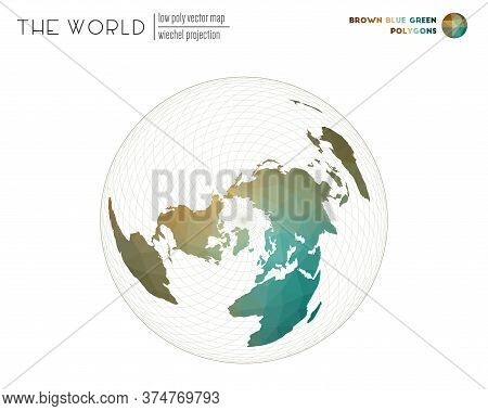 Polygonal Map Of The World. Wiechel Projection Of The World. Brown Blue Green Colored Polygons. Beau