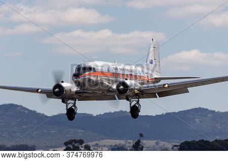 Avalon, Australia - February 27, 2015: Vintage Douglas Dc-3 Airliner Vh-tmq Operated By Air Nostalgi