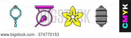 Set Chinese Paper Lantern, Gong, Lotus Flower And Chinese Paper Lantern Icon. Vector