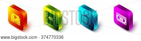 Set Isometric Online Play Video, 4k Movie, Tape, Frame, Retro Tv And Vhs Video Cassette Tape Icon. V