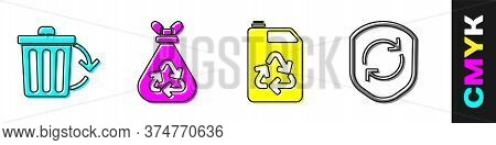 Set Recycle Bin With Recycle, Garbage Bag With Recycle, Eco Fuel Canister And Recycle Symbol Inside