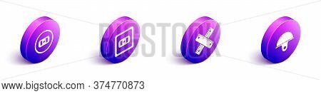 Set Isometric Electrical Outlet, Electrical Outlet, Crossed Ruler And Worker Safety Helmet Icon. Vec