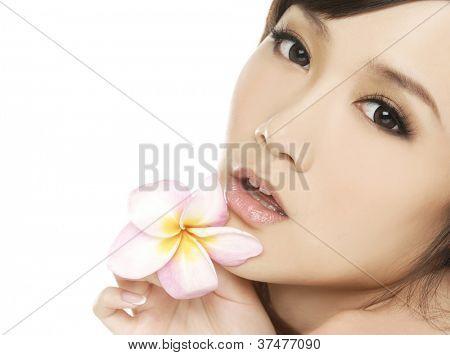 Woman enjoying day spa, beautiful peaceful relaxed female, closed eyes,