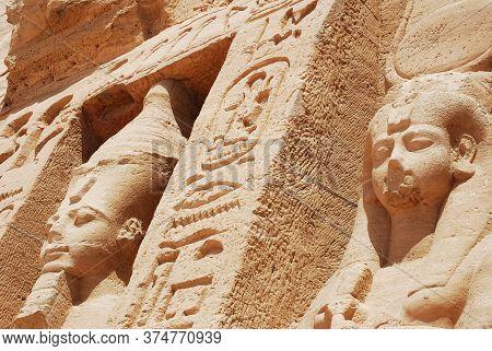 Ancient Statues And Hieroglyphics At Abu Simbel Temple. Egypt
