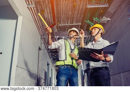 Project Engineer, Engineer And Technician Working On Construction Site, Construction Site Engineer W