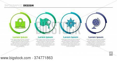 Set Laptop With Location Marker, Search Location, Wind Rose And Earth Globe. Business Infographic Te