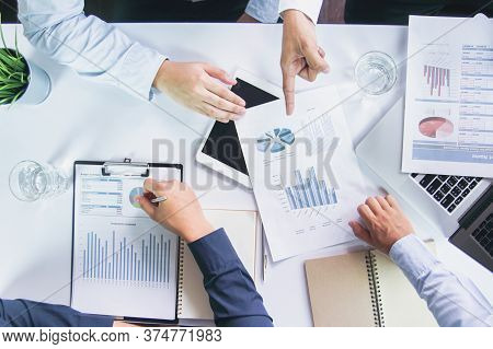 Business Planning Meeting Financial Budget. Top View Of Business Team Project Meeting With Financial