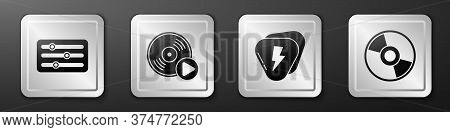 Set Sound Mixer Controller, Vinyl Disk, Guitar Pick And Cd Or Dvd Disk Icon. Silver Square Button. V