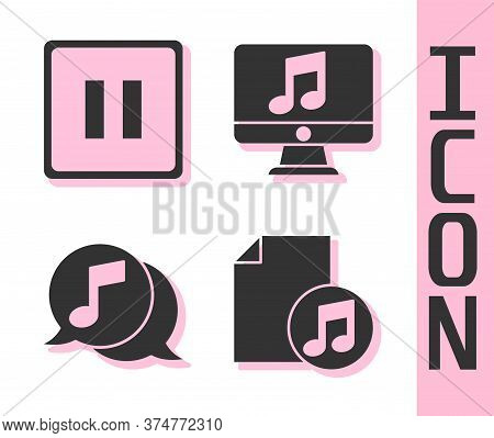 Set Music Book With Note, Pause Button, Musical Note In Speech Bubble And Computer With Music Note I