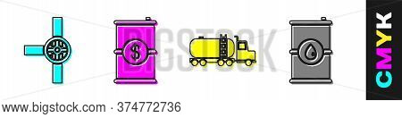 Set Industry Pipes And Valve, Barrel Oil With Dollar, Tanker Truck And Barrel Oil Icon. Vector