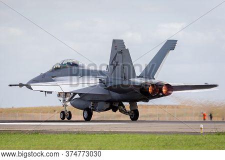 Avalon, Australia - February 24, 2015: Royal Australian Air Force (raaf) Boeing F/a-18f Super Hornet