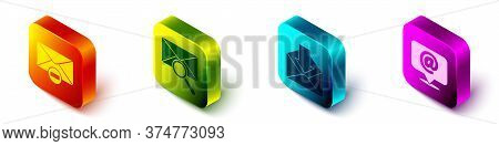 Set Isometric Delete Envelope, Envelope With Magnifying Glass, Envelope And Mail And E-mail On Speec