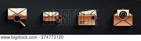 Set Envelope With Magnifying Glass, Envelope With Shield, Envelope And Mail And E-mail Icon With Lon