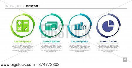 Set Calculator, Credit Card, Pie Chart Infographic And Dollar And Pie Chart Infographic. Business In