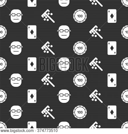 Set Casino Chips, Playing Card With Diamonds, Poker Player And Stick For Chips On Seamless Pattern.