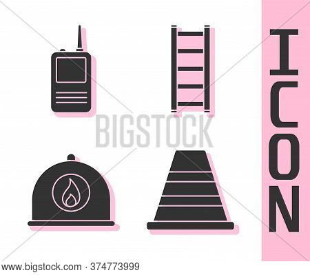 Set Traffic Cone, Walkie Talkie, Firefighter Helmet And Fire Escape Icon. Vector