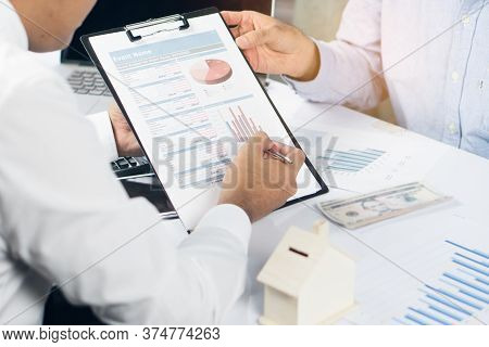 Financial Investor Consultant Saving Insurance. Finance Agent Showing Graph Of Business Investment T