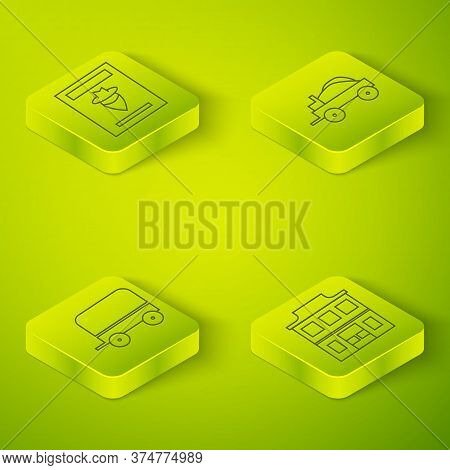 Set Isometric Wild West Covered Wagon, Wild West Covered Wagon, Wild West Saloon And Wanted Western