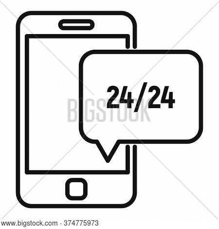 Service Center Smartphone Support Icon. Outline Service Center Smartphone Support Vector Icon For We