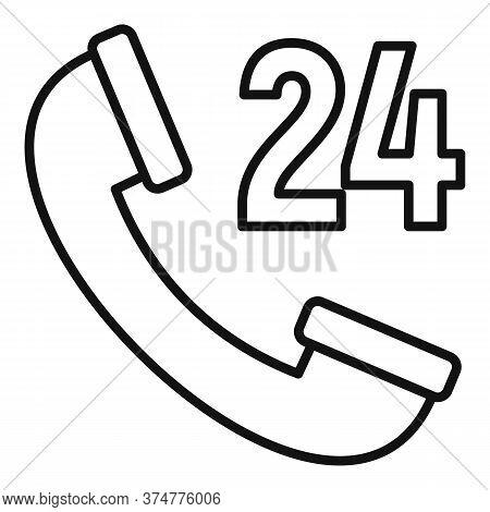 Web Telephone Service Center Icon. Outline Web Telephone Service Center Vector Icon For Web Design I