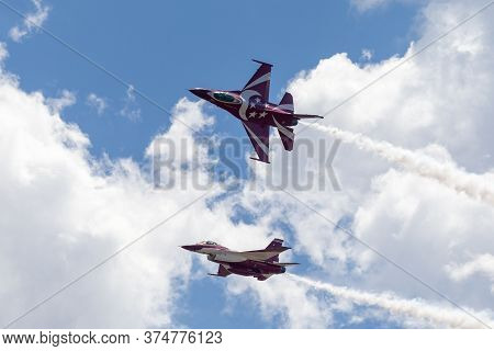 Avalon, Australia - February 21, 2015: Two Republic Of Singapore Air Force (rsaf) Lockheed Martin F-