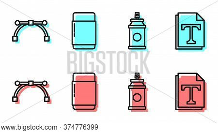 Set Line Paint Spray Can, Bezier Curve, Eraser Or Rubber And Text File Document Icon. Vector