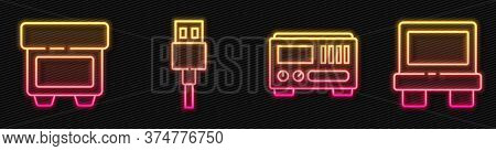 Set Line Electrical Measuring Instruments, Fuse, Usb Cable Cord And Fuse. Glowing Neon Icon. Vector