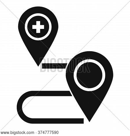 Private Clinic Route Map Icon. Simple Illustration Of Private Clinic Route Map Vector Icon For Web D