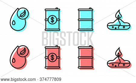 Set Line Barrel Oil, Bio Fuel, Barrel Oil With Dollar And Alcohol Or Spirit Burner Icon. Vector