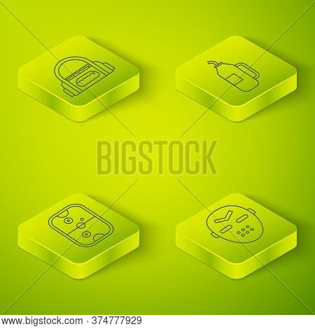 Set Isometric Fitness Shaker, Air Hockey Table, Hockey Mask And Sport Bag Icon. Vector
