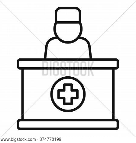 Private Clinic Reception Icon. Outline Private Clinic Reception Vector Icon For Web Design Isolated