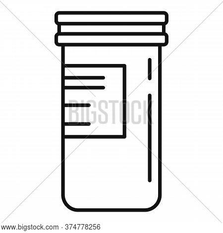 Pills Plastic Jar Icon. Outline Pills Plastic Jar Vector Icon For Web Design Isolated On White Backg