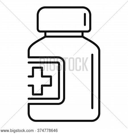 Glass Pill Jar Icon. Outline Glass Pill Jar Vector Icon For Web Design Isolated On White Background