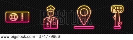Set Line Location, Airline Ticket, Pilot And Aircraft Steering Helm. Glowing Neon Icon. Vector