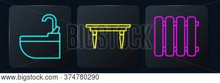 Set Line Washbasin With Water Tap, Heating Radiator And Wooden Table. Black Square Button. Vector