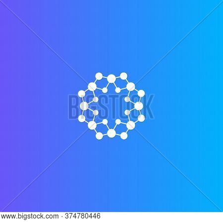 Science Laboratory Logo. Medical Research Logotype. Molecules Network Icon. Round Circuit Sign. Nano