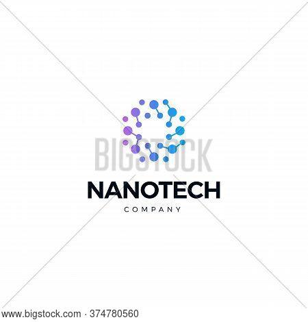 Nano Technology Logo. Atomic Structure Logotype. Round Scientific Laboratory Innovation Icon. Geneti