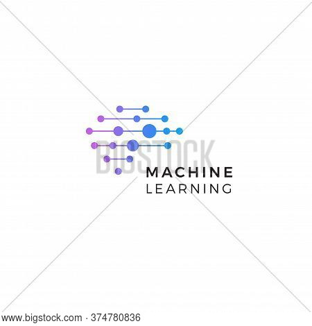 Machine Learning Logo. Neurons Connections, Synapses Emblem. Neural Network. Isolated Human Brain Ic