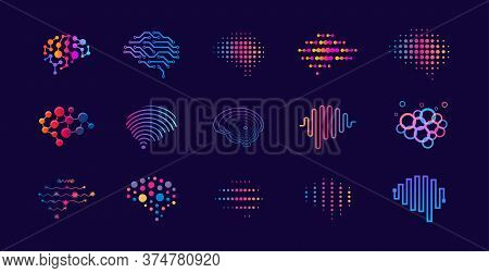 Set Of Abstract Dots And Lines Brain Logotypes Concept. Logo For Science Innovation, Machine Learnin