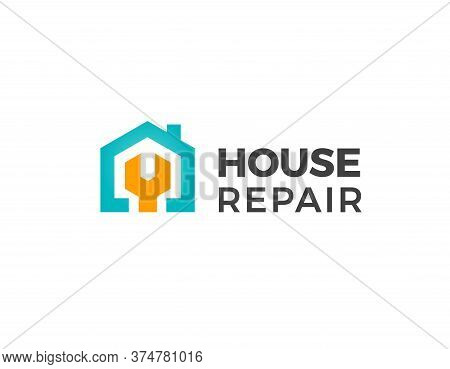 House Repair Logo. Home Renovation Project Emblem. Wreck Tool Icon. Maintenance Service Sign. Isolat