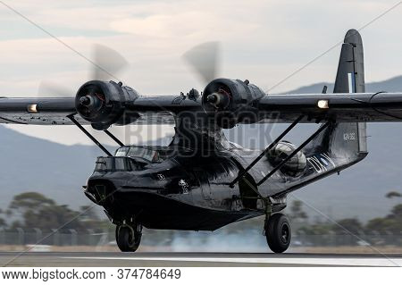 Avalon, Australia - February 27, 2015: Consolidated Pby Catalina Flying Boat Vh-pbz In World War Ii