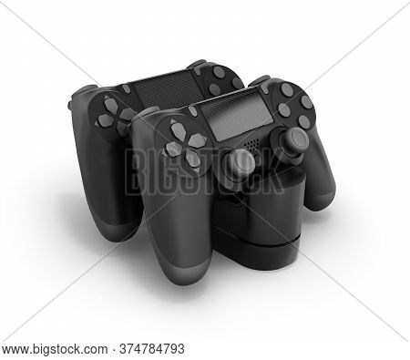Two Black Gamepads At The Docking Station 3d Rendering