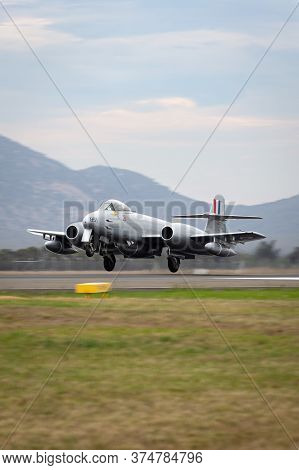 Avalon, Australia - February 27, 2015: Gloster Meteor F.8 Aircraft Vh-mbx In Korean War Era Royal Au